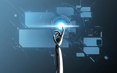 Mano robot toccando lo schermo virtuale sul blu Archivio Fotografico - 90670549