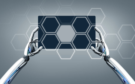 robot hands with tablet pc over gray background