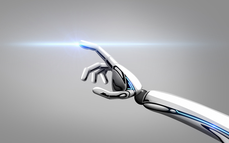 robot hand over gray background