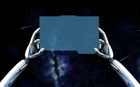 robot hands with tablet pc over space background