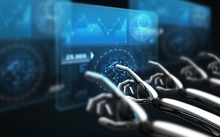Mani di robot che toccano schermi virtuali sul nero Archivio Fotografico - 90840597