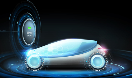 futuristic concept car with eco icon