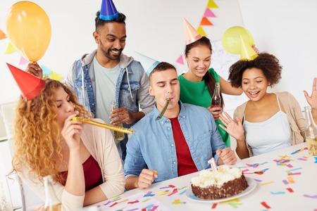 corporate team celebrating one year anniversary Stok Fotoğraf