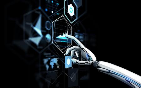 黒の上に仮想画面に触れるロボットの手