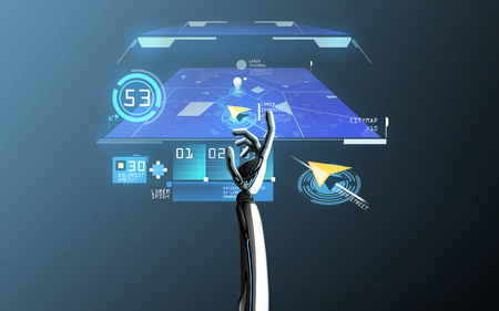 robot hand with virtual gps navigator