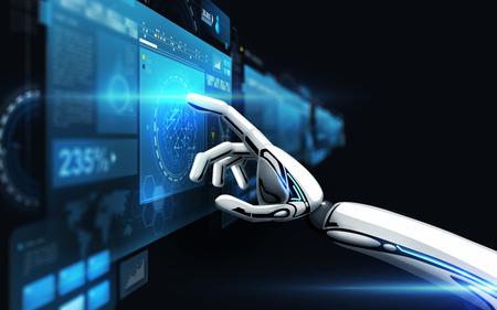 robot hand touching virtual screen over black Foto de archivo