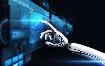 robot hand touching virtual screen over black Stock Photo