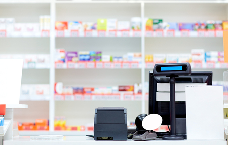 cash desk at pharmacy or drugstore