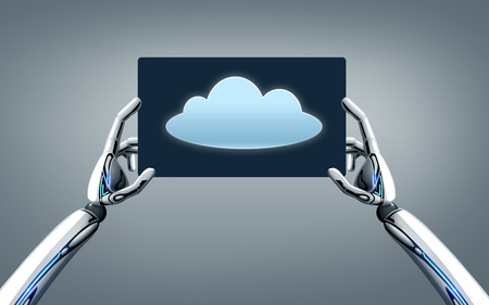 science, future technology and computing concept - robot hands with cloud image on tablet pc screen over gray background