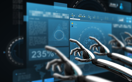 robot hands touching virtual screens over black Banque d'images