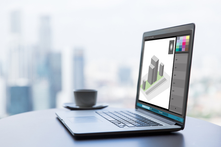 3d model in graphics editor on laptop screen