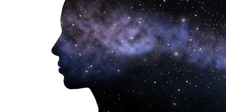 二重暴露女性と銀河 写真素材