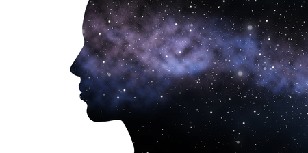 double exposure woman and galaxy
