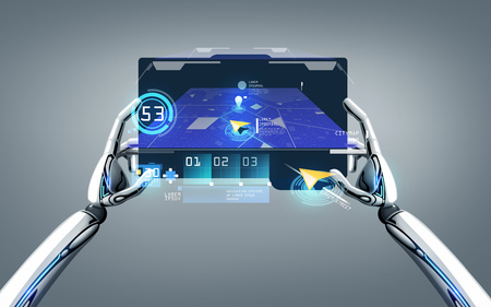 robot hands with gps navigator on tablet pc Stock Photo