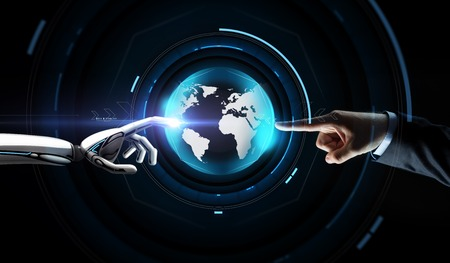 future technology, business and artificial intelligence concept - close up of businessman and robot hand touching virtual earth hologram over black background Stock fotó