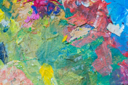 fine art, creativity and concept - close up of colorful painting