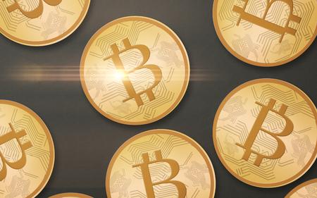 상단에서 회색 배경 위에 골드 bitcoins