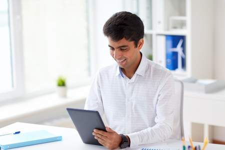 businessman working with tablet pc at office