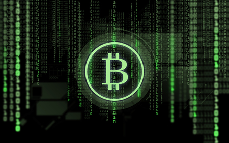 bitcoin projection and binary code over black