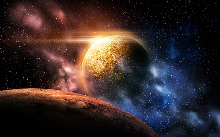 planet and stars in space Imagens