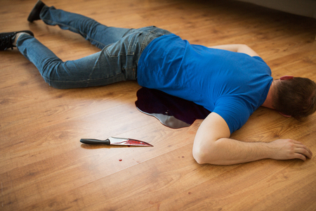 murder, kill and people concept - dead man body and knife in blood lying on floor at crime scene (staged photo) Stock fotó - 93409472