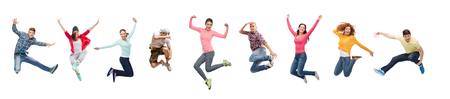 sport, dancing and people concept - group of people or teenagers jumping Reklamní fotografie - 93409473