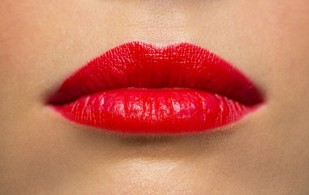 lips or mouth of woman with red lipstick Stock fotó