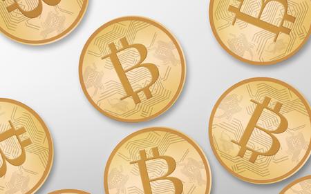 cryptocurrency, 금융 및 비즈니스 개념 - 골드 bitcoins 위에서 흰색 배경 위에