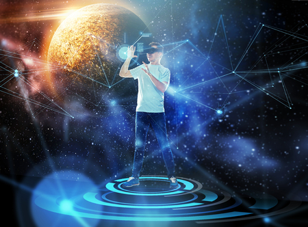 man in virtual reality headset or 3d glasses