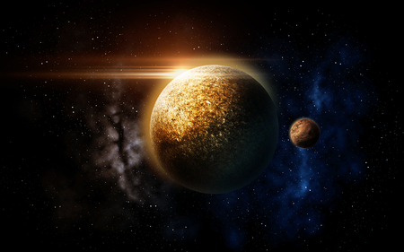 planet and stars in space Stock Photo