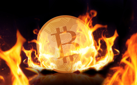 cryptocurrency, digital currency, finance and business concept - gold bitcoin on fire over black background Stock fotó