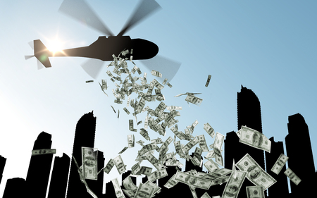 finance, economy and monetary policy concept - helicopter in sky dropping money over city