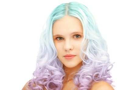 beauty and hairstyle concept - teen girl with trendy blue and lilac gradient dyed hair