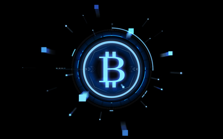 blue bitcoin projection over black background