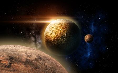 우주에서 행성과 별 스톡 콘텐츠