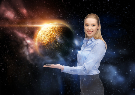 smiling businesswoman with smartphone over space