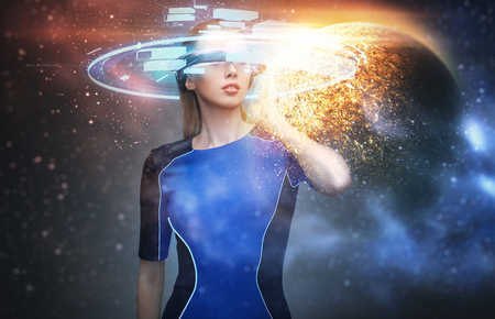 woman in virtual reality glasses over space