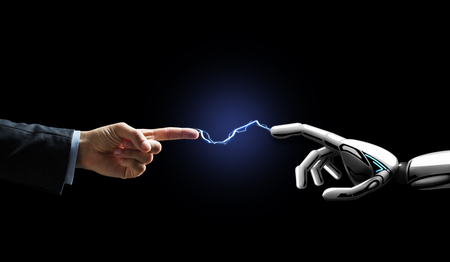 robot and human hand connected by lightning