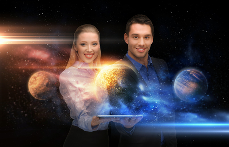 businesspeople with tablet pc and planets in space