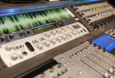 music mixing console at sound recording studio Reklamní fotografie - 95035967