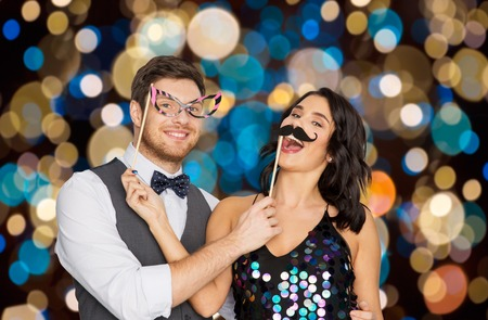 happy couple with party props having fun Stock Photo - 95035991
