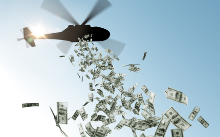 helicopter dropping money in sky
