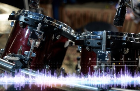 close up of drums at sound recording studio Stockfoto