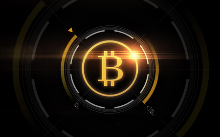 gold bitcoin projection over black background Stockfoto