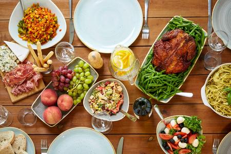 various food on served wooden table 版權商用圖片
