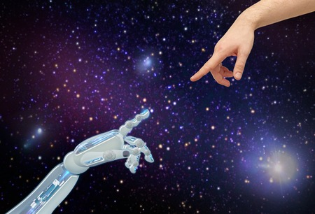 human and robot hands over space background