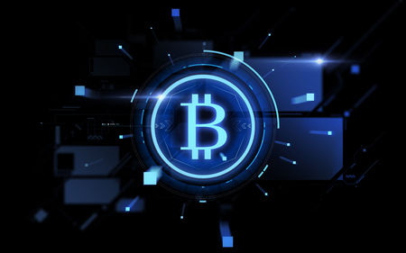 blue bitcoin projection over black background Stock fotó - 96033273