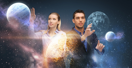 businessman and businesswoman over space