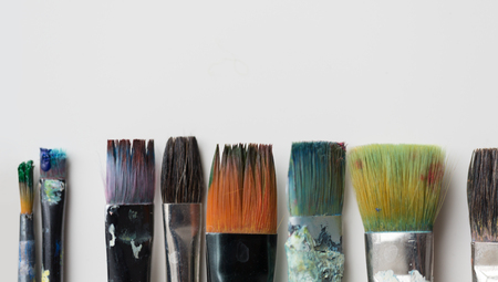 dirty paintbrushes from top