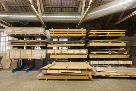 boards storing at woodworking factory warehouse
